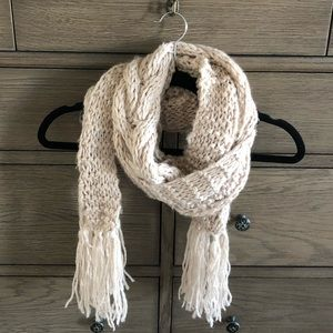 Cable Knit Cream Scarf with Fringe Detail